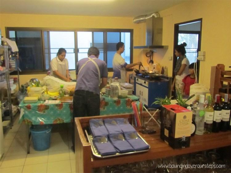 Open kitchen at Anchan Vegetarian Restaurant, Chiang Mai