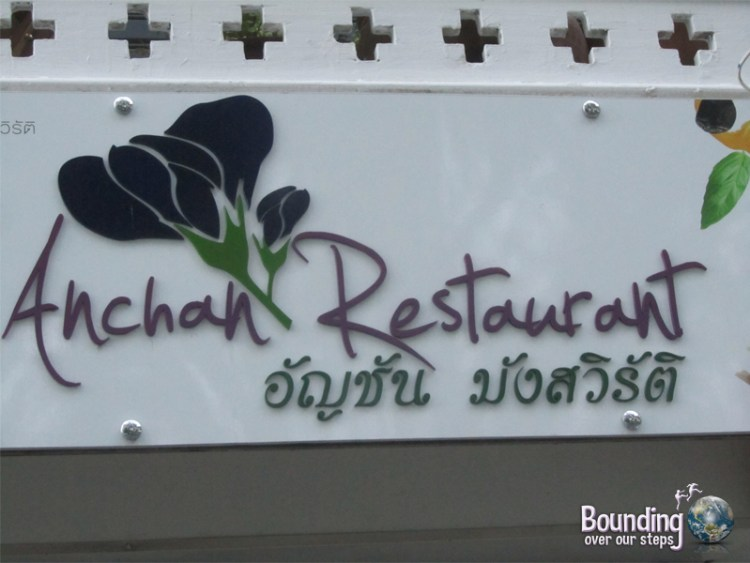 Sign out front of Anchan Vegetarian Restaurant in Chiang Mai, Thailand
