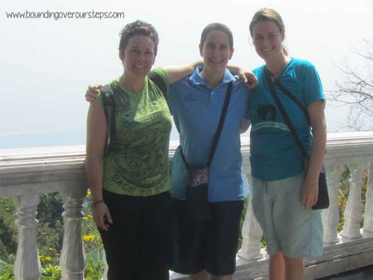Triumphant after our hike to Wat Phra Doi Suthep