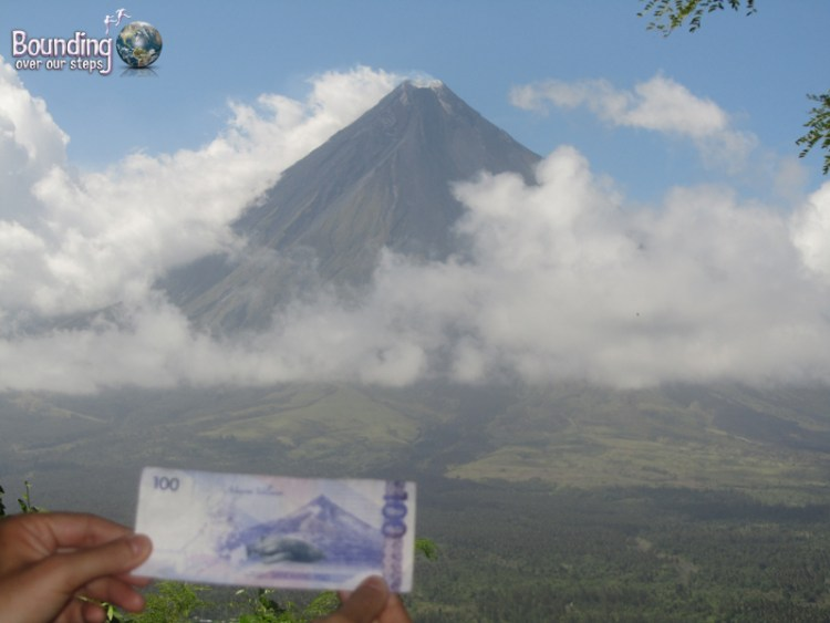 Mt. Mayon as featured on the 100 Piso bill in front of the real Mt. Mayon