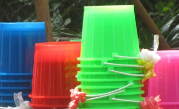 Buckets ready for sale for Songkran in Chiang Mai, Thailand