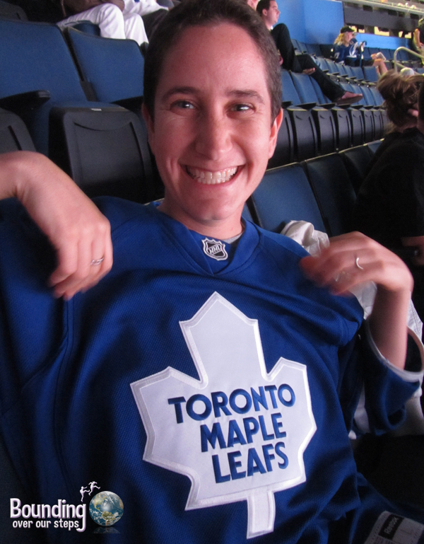 Mindy wearing her beloved Toronto Maple Leafs jersey