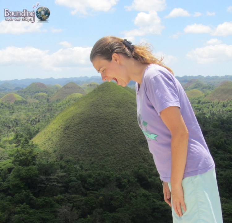 Ligeia trying to eat the Chocolate Hills in Bohol, Philippines
