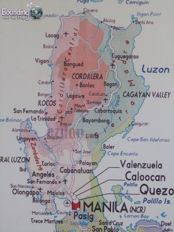 Map of the Philippines, showing the town of Vigan
