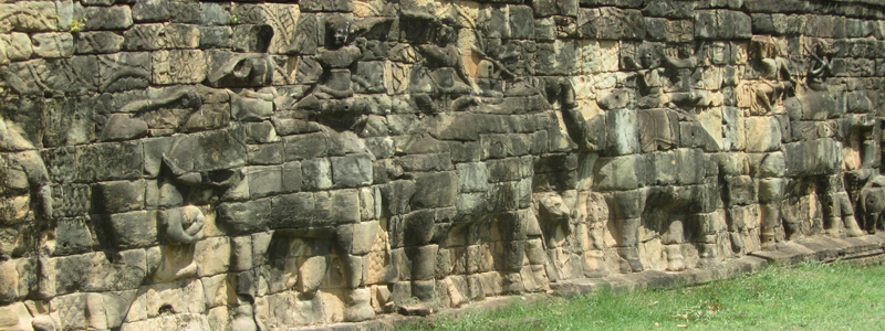 Wall carvings of elephants at the Elephant Terrace in Angkor Wat, Cambodia