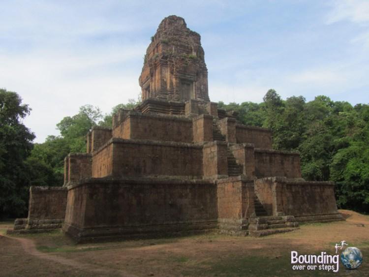 Beautiful morning light shines on Prasat Bei temple in Angkor Wat, Cambodia