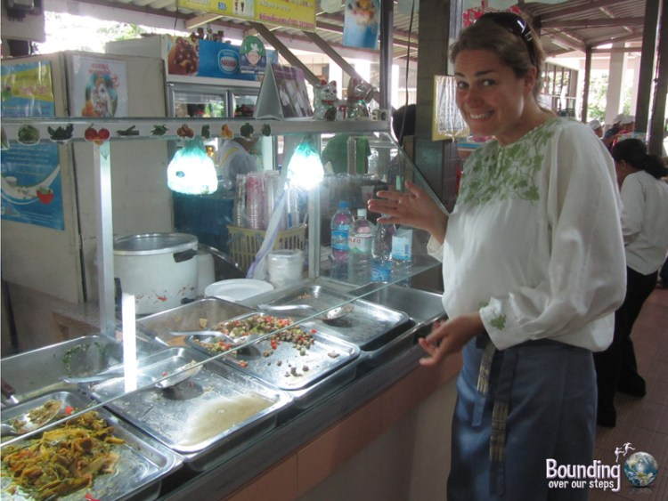 Ordering food from the vegetarian stall in the cafeteria at Chiang Mai University