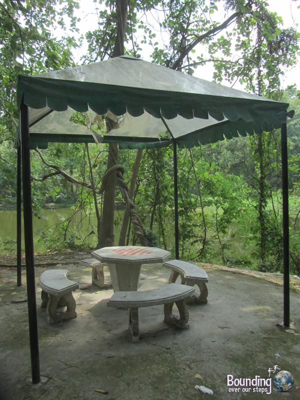 Picnic tables on campus at Chiang Mai University