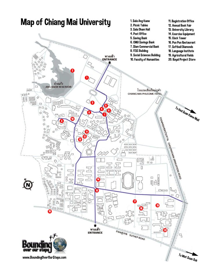 A printable map of Chiang Mai University