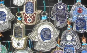 Hamsa ornaments in the Carmel Market in Tel Aviv