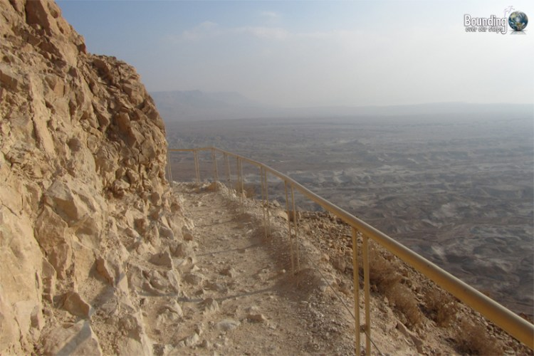 Parts of the snake path along the hike up to Masada were equipped with handrails