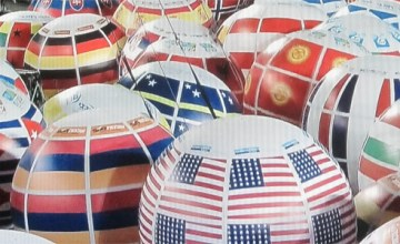 Inflatable country-specific balloons at the Opening Ceremonies of the Maccabiah Games