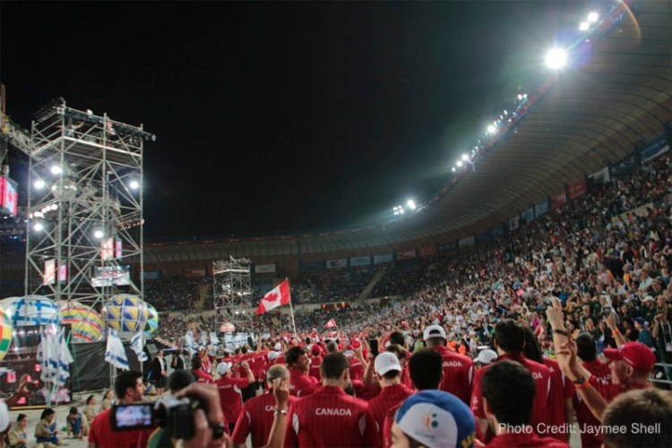 Walking into Teddy Stadium with Team Canada at the Opening Ceremonies of the Maccabiah Games