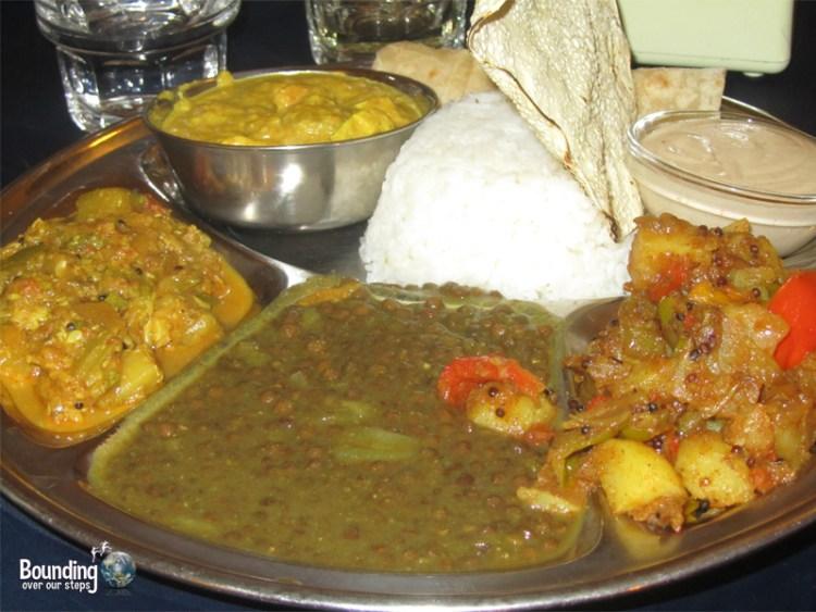 An Indian Fusion thali set at 24 Rupee, a vegetarian restaurant in Tel Aviv
