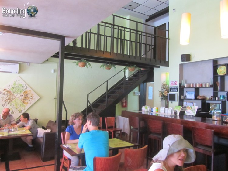 The dining room at Taste of Life, an organic vegan restaurant in Tel Aviv