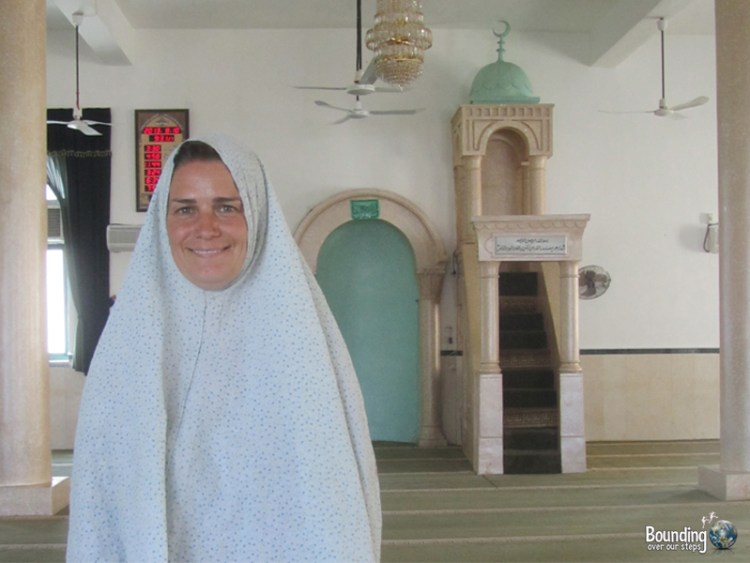 Ligeia fully covered in the Omar Mosque in Bethlehem, Palestine