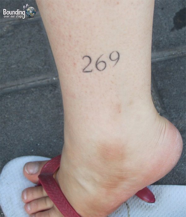 Simple 269 tattoo on the ankle of a fellow vegan in Israel