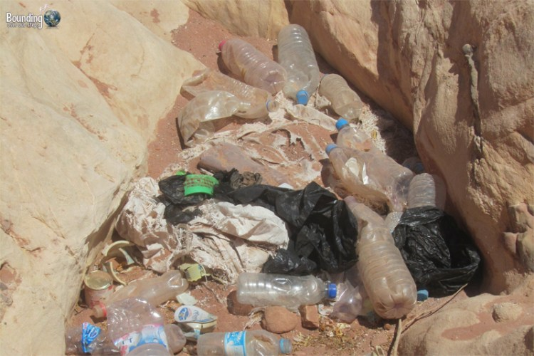 Disgusting litter lying around at Petra