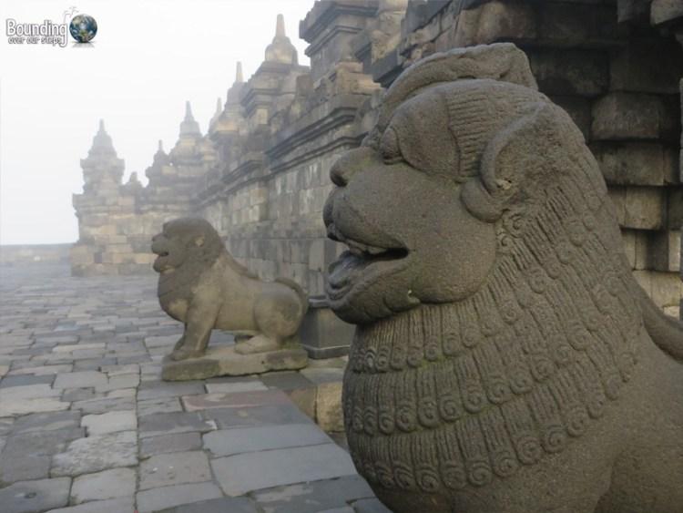 Temples of Yogyakarta - Borobudur and Prambanan - Lion Statues