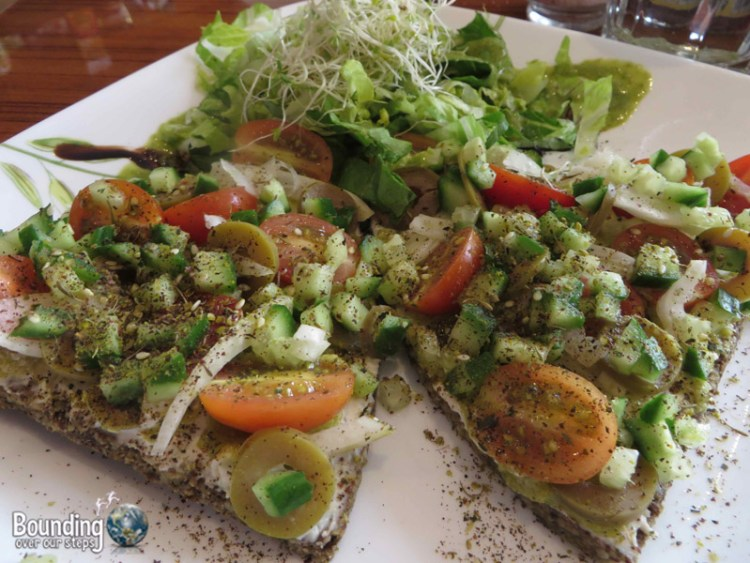 Leafy Greens Cafe - Two slices of Mediterranean pizza