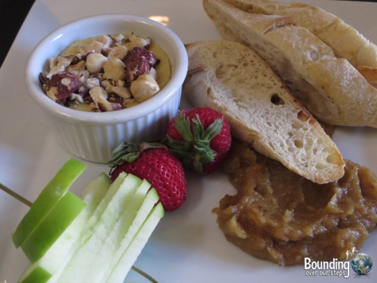Baked Brie with Sourdough Bread and Apricot Preserves
