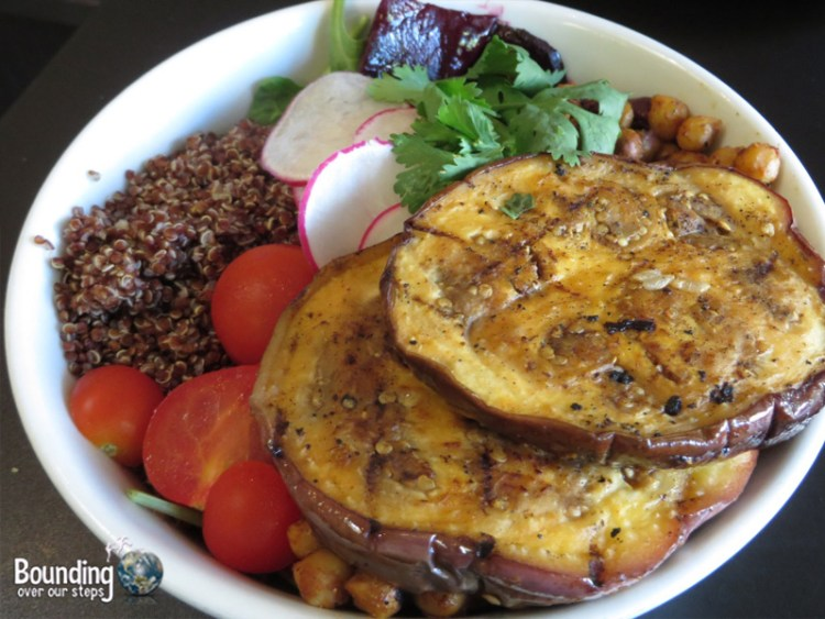 Red Bowl with Grilled Eggplant, Spiced Chickpeas, Roasted Beets and Quinoa