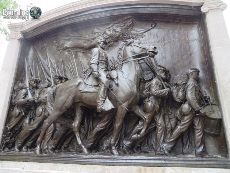 The bas relief statue of the 54th Regiment marching off to war