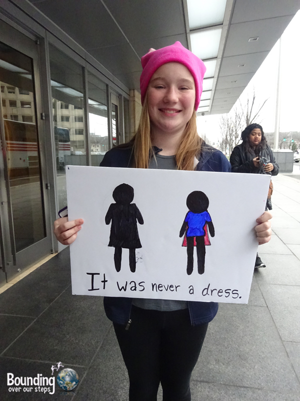 Womens March DC - Never a Dress Sign