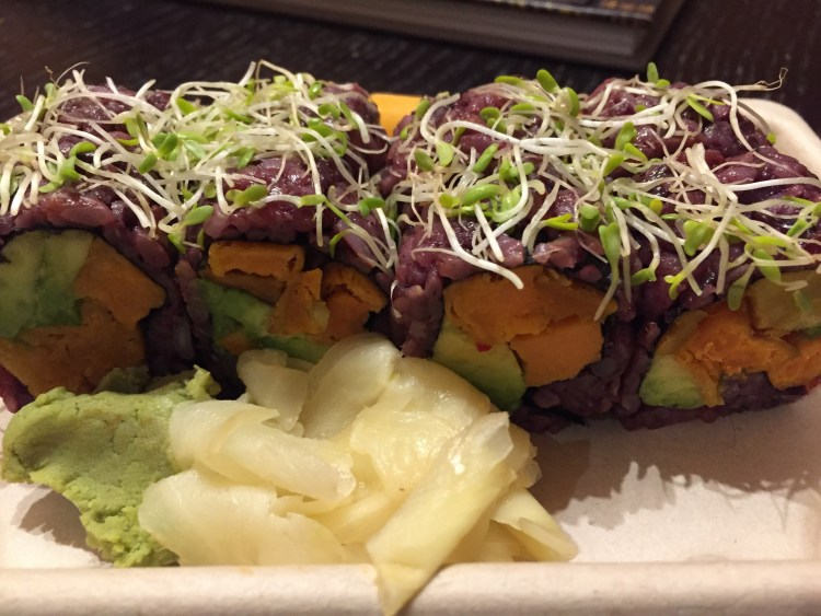 Our Vegan Weekend in NYC - Sweet tea sushi roll from Beyond Sushi