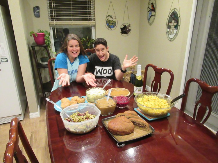 Vegan Thanksgiving Recipes - Ligeia and Mindy at Table