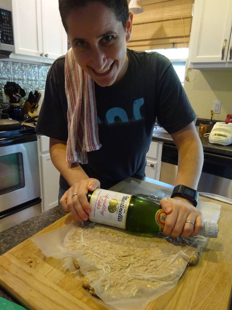 Vegan Thanksgiving Recipes - Rolling out seitan with Martinelli's