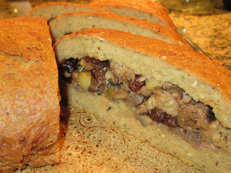 Vegan Thanksgiving Recipes - Stuffed Seitan Holiday Loaf