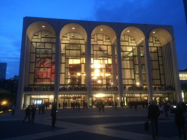 The Metropolitan Opera building during one of the intermissions