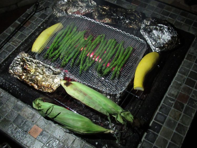 Grilling vegetables while camping in our back yard
