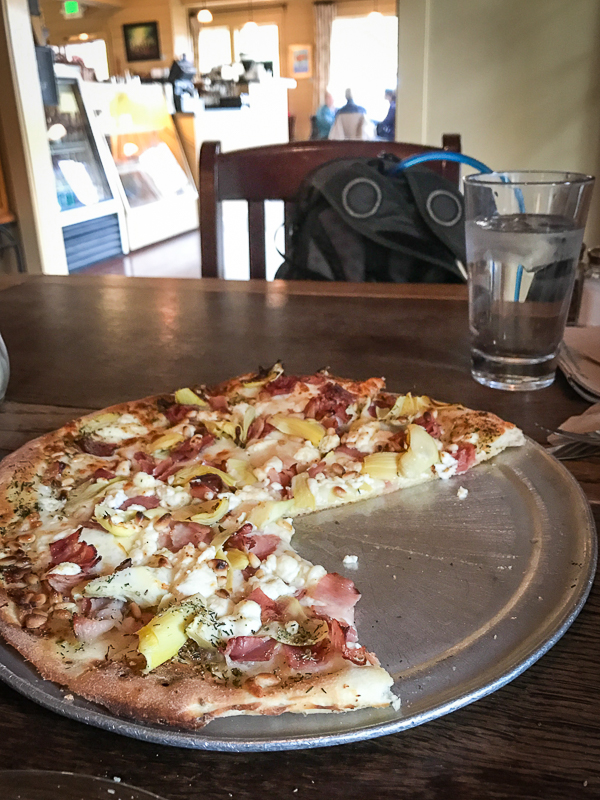 Delicious pizza from Treehouse Cafe on Bainbridge Island, Washington. Boundless Journey.