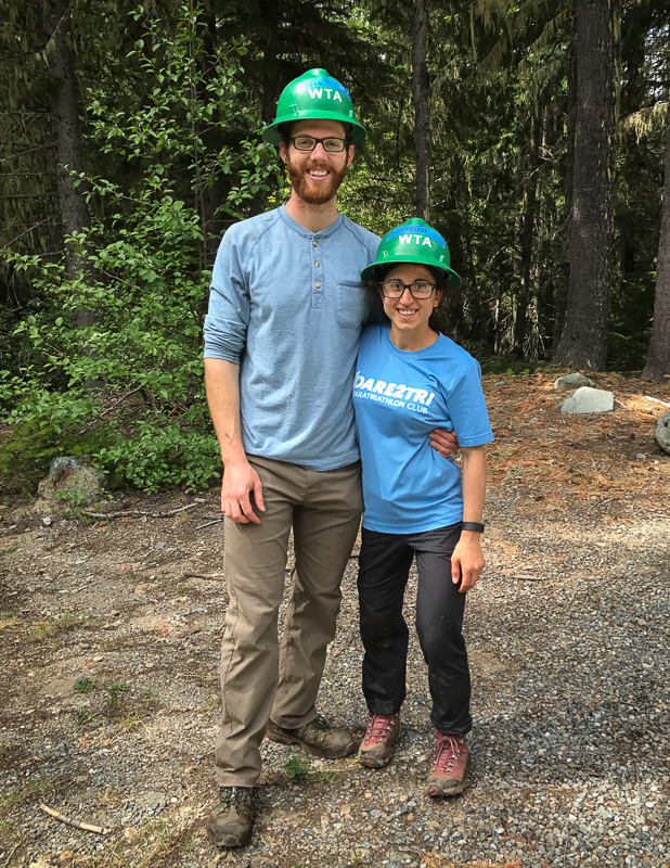 Nick and Angelina at WTA work Party at Mt.Rainier National Park trail day