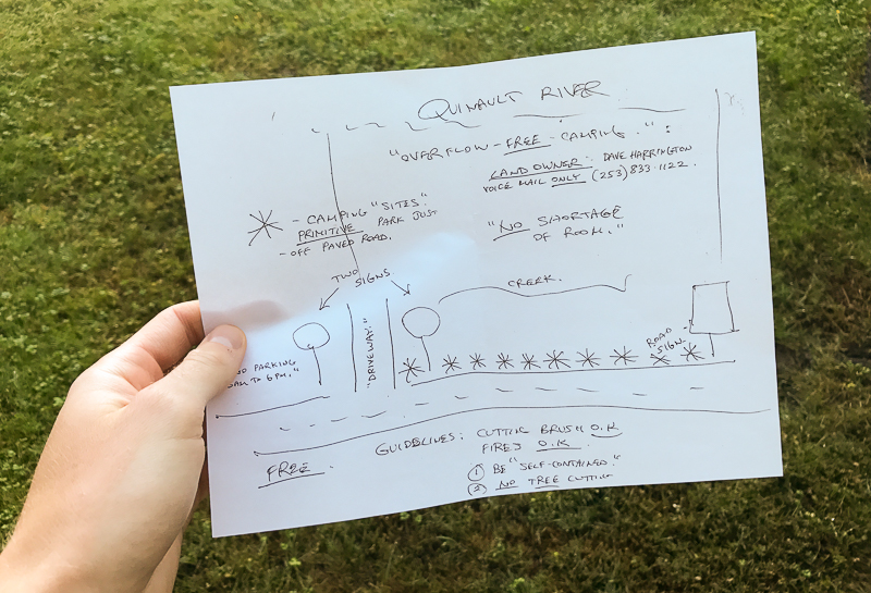 Hand drawn map for directions to the so called campground in Quinault, Washington.