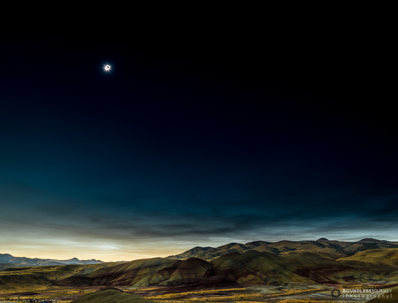The diamond ring effect during solar eclipse totality in the painted hills of oregon.