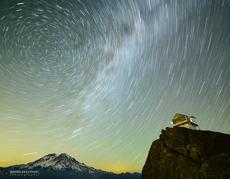 Star trails with a Milky Way smudge over Mt. Rainier. Boundless-Journey. Astrophotography.