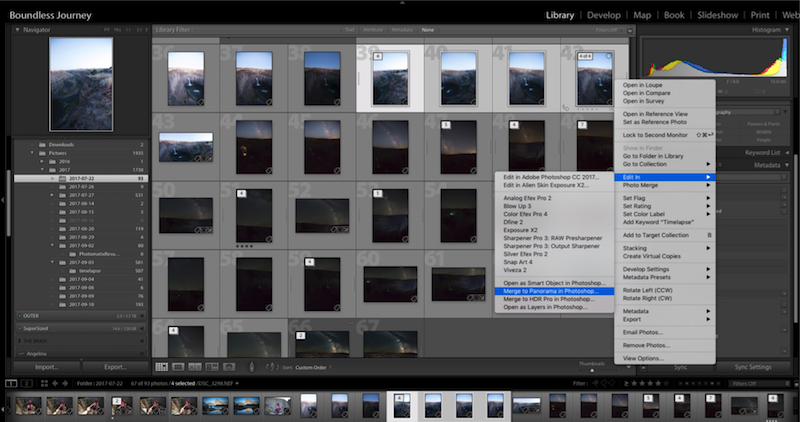Lightroom how to export to photoshop to make a panorama.