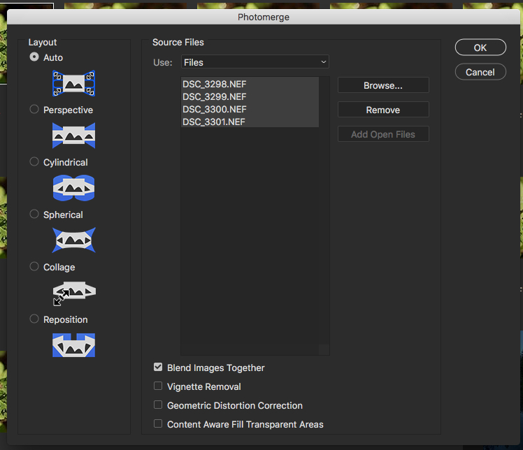 How to merge to panorama in Photoshop.