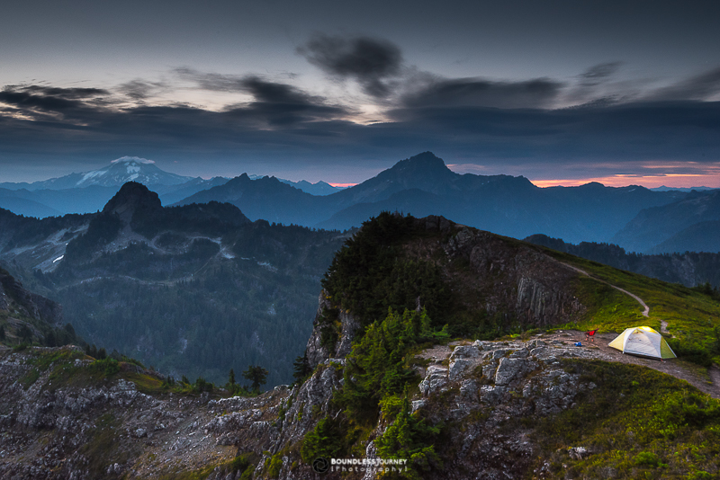 Free dispersed camping on Mt. Dickerman in Mt. Baker Snoqualmie National forest, Washington.