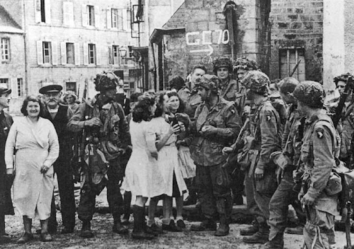 E Co. Members after liberating Eindhoven, Netherlands.