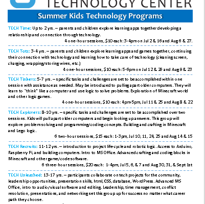 Summer Kids Tech Programs Announced