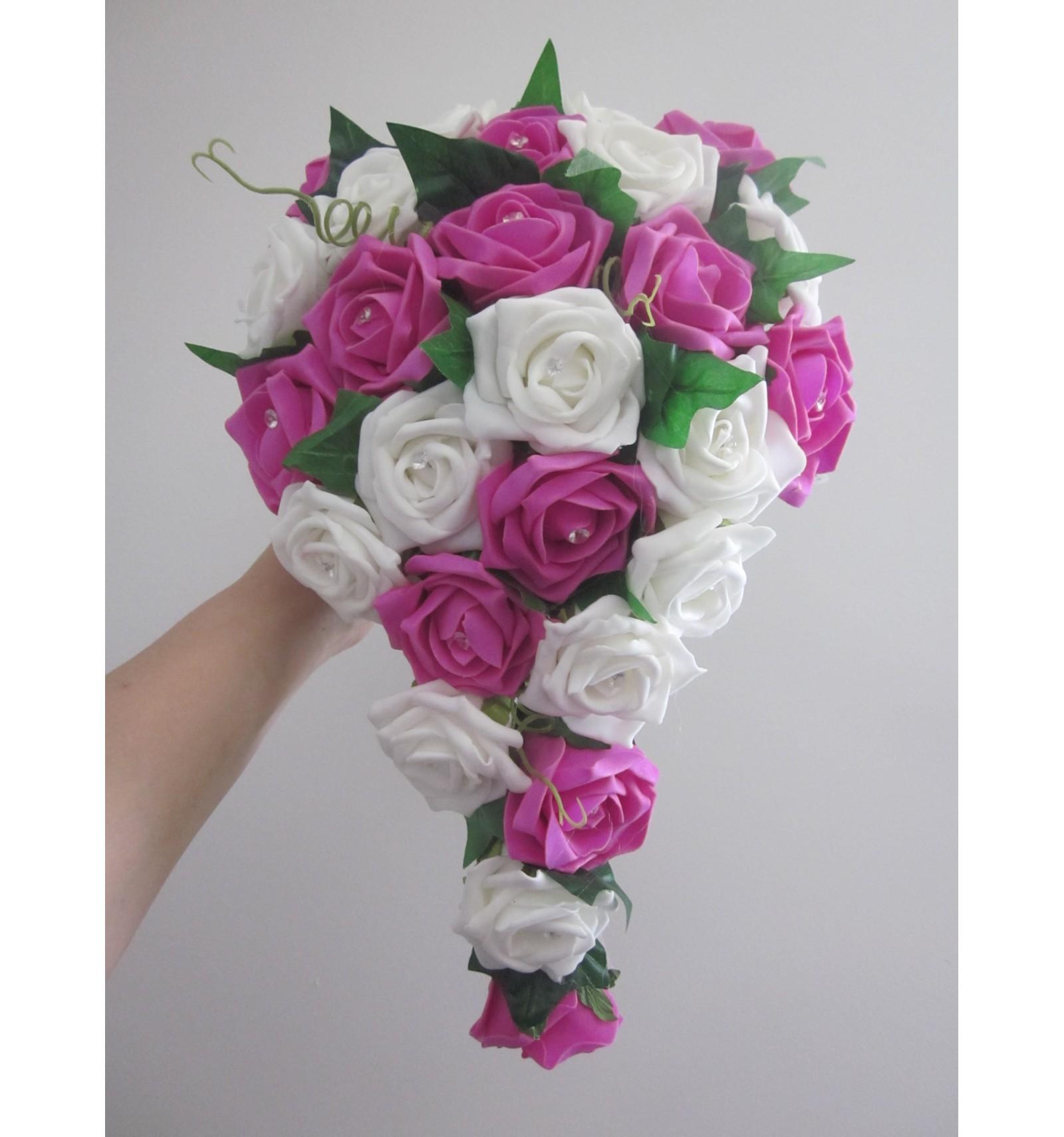 Bouquet De Mariage Cascade Fuchsia Ou Rose Avec Roses