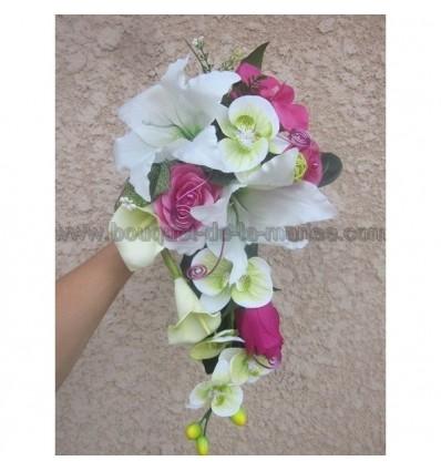 Bouquet Marie Tombant Avec Des Orchides Vertes Et