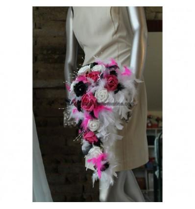 Bouquet Mari Cascade Thme Blanc Et Noir Avec Fuchsia Et