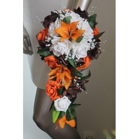 Bouquet Mariage Cascade thme Chocolat Orange avec roses et lys  Bouquetdelamariee