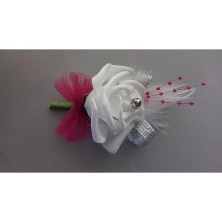 Boutonnire Mariage Blanc Fuchsia Et Gris Argent Perl