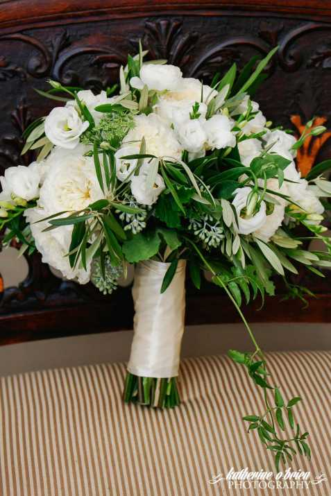 greenery bridal bouquet white garden rose
